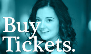 Buy Tickets image with a blue overlay over a picture of a singer for Magic Thread Cabaret.