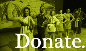 Donate image - green overlay over image of dancers onstage.